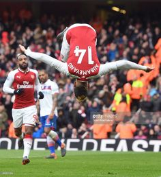 Pierre-Emerick Aubameyang celebrates scoring the first Arsenal goal during the Premier League match between Arsenal and Stoke City at Emirates Stadium on April 2018 in London, England. Get premium, high resolution news photos at Getty Images Aubameyang Arsenal, Arsenal Players, Arsenal Football, Football Players, Arsenal Match, Football Celebrations, Chelsea Team, Pierre Emerick, Soccer Tips