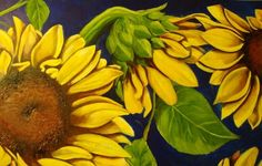 My first oil painting.  Detail of Sunflowers