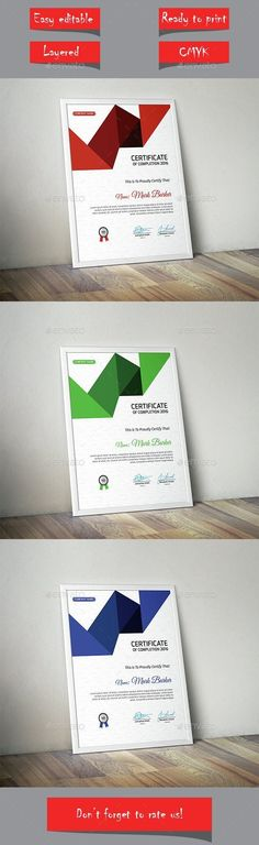 Certificate by curvedesign Vector EPS Files Fully Layered Stationery Printing, Stationery Templates, Stationery Design, Print Templates, Resume Templates, Design Templates, Certificate Design, Certificate Templates, Print Design