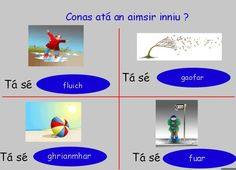 Flipcharts to use in Primary School Primary Teaching, Primary School, Irish Language, Education Center, Ireland, Weather, Learning, Scotland, Culture