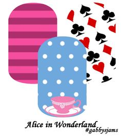 My custom Jamberry Wraps alice in wonderland NAS Nail Wraps #jamberry #gabbysjams Contact me if you are interested in purchasing them: https://www.facebook.com/groups/gabbysjamsnasdesigns/ or gabbysjams@gmail.com or https://www.facebook.com/gabbysjams/  DIY, nail art, cute,