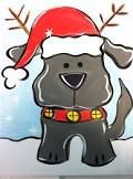 reindog - Google Search Dog Canvas Painting, Christmas Paintings On Canvas, Christmas Canvas, Canvas Paintings, Watercolor Paintings, Painted Canvas, Canvas Art, Christmas Rock, Christmas Puppy