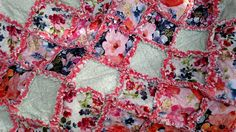 """Rag Quilt, Watercolor Spring Flowers, Rag Lap Quilt, Handmade Approx 56"""" X 56"""", Ready to Ship by BermudaStreetQuilts on Etsy"""