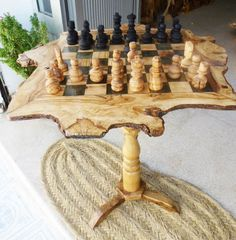 Olive wood rustic chess table /  Wooden chess by tunisiahandmade,