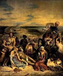 Eugène Delacroix, Massacre at Chios Louvre. Eugène Delacroix, Scene of… William Turner, Delacroix Paintings, Eugène Delacroix, Romanticism Artists, Art Français, Louvre Paris, Famous Art, Oil Painting Reproductions, Magritte