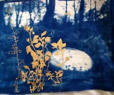 Cyanotype on fabric with metallic pigment printed over the top sophiethompsontextiledesign