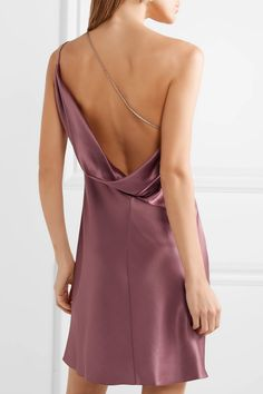 Cushnie et Ochs - One-shoulder draped silk-charmeuse mini dress Cushnie Et Ochs, Silk Charmeuse, Jennifer Fisher, Strappy Sandals, One Shoulder, Mini, Collection, Dresses, Style