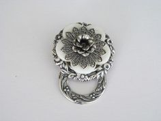 This is a beautiful badge holder or could be used as an eyeglass holder with very strong magnets on the back Place one magnet behind your shirt and the badge Eyeglass Holder, Name Badges, Badge Holders, Marcasite, Eyeglasses, Magnets, Jewlery, Silver Rings, Beading Ideas