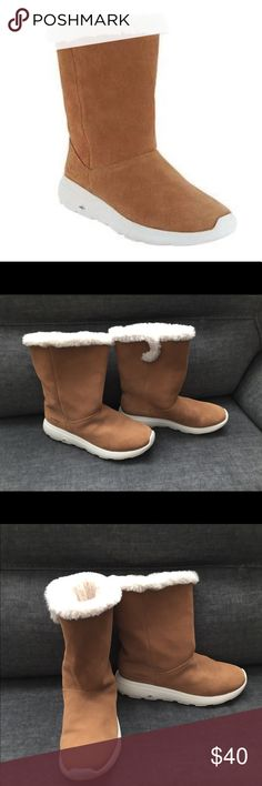 Sketchers Gowalk Suede and Faux Fur Boots - 8.5M Snuggle into these suede boots during the chilly days ahead. The ultra-soft faux-fur lining and collar trim envelop you in divine comfort while effortlessly updating your winter style. 8.5M. Worn once indoors. Skechers Shoes Winter & Rain Boots