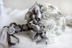 crystal brooches white wedding bouquet, white and gray, made with real flowers, flower shop, florist in Chicago on Etsy, $195.00