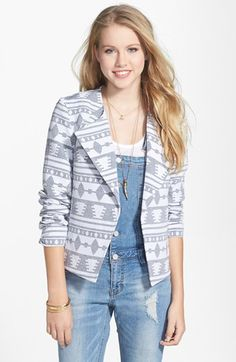 BCNU Geometric Jacquard Collarless Jacket (Juniors) available at #Nordstrom