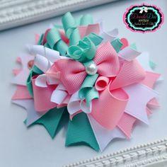 Shabby Chic Pink Pearl White & Aqua