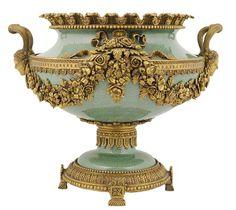 Louis XVI style celadon porcelain centre bowl with bronze mounts.
