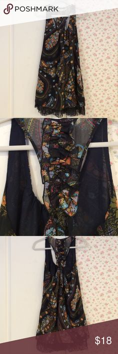 Dress. Black background with floral design. Black lace on bottom. Racerback with ruffles. Euc. Has a lining. 100% polyester. Machine wash. Blu Pepper Dresses