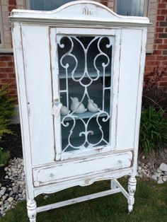 Distressed White and Teal Cabinet - Custom Piece Refinished by Thistle Thatch Designs