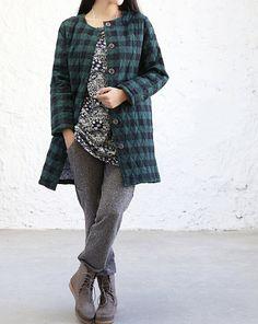cotton+plaid+Thin+padded++jacket+от+MaLieb+на+Etsy