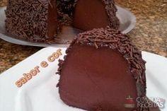 Receita de Pudim de brigadeiro com calda de chocolate em Pudins, veja essa e outras receitas aqui!