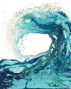 Eine atemberaubende abstrakte Kunst-Druck einer Welle in einer Vielzahl von Türkis und blau – ist es ein Druck von meiner Sandbänke Welle ich Malerei. Es ist eines meiner Lieblings-Drucke und auch meine Lieblings Malerei auf dem Laufenden. Das Original wurde mit Acrylfarben auf
