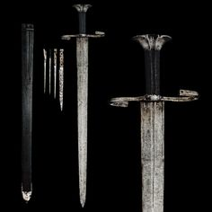 """Landsknecht-type Sword, German, circa 1500-1520  Flat, splayed pommel; counter-curved cross-guard and twisted quillons; single small fullered double-edged blade; original leather scabbard with additional pockets for one knife, one stiletto, and two sharp bodkins.  Overall length: 71.1 cm (28"""")"""
