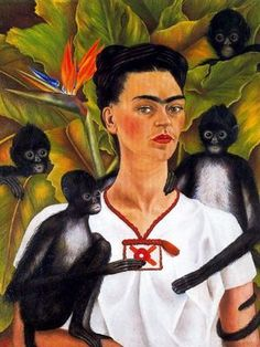 Frida Kahlo Self-portrait with monkeys, The Jacques and Natasha Gelman Collection of Mexican Art © 2016 Banco de Mexico Diego Rivera Frida Kahlo Museums Trust, Mexico DF Frida E Diego, Diego Rivera Frida Kahlo, Old Posters, Tomie Ohtake, Kahlo Paintings, Frida Kahlo Artwork, Frida Kahlo Portraits, Portrait Paintings, Mexican Artists