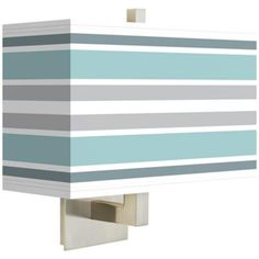 Multi Color Stripes Rectangular Giclee Shade Wall Sconce