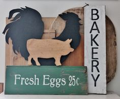vintage signs with rooster and pig