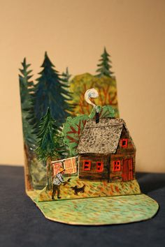 A tiny pop-up card I sent to a friend recently. Phoebe Wahl 2013