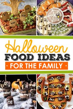 Fun and Festive Halloween Food Ideas for Kids and Families. Perfect for a fun Halloween party or just a nice family Halloween dinner! dinner Fun Halloween Food Ideas for Every Meal - From The Dating Divas Halloween Desserts, Halloween Food Kids, Halloween Themed Food, Halloween Breakfast, Halloween Appetizers, Halloween Dinner, Halloween Festival, Halloween Cookies, Holidays Halloween