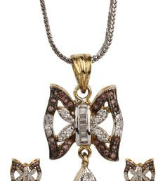 Buy LOVE Collection Tricolour Butterfly Shaped Locket Set For Women Pendant online American Diamond Jewellery, American Jewelry, Diamond Jewelry, Bridal Jewellery Sets Online, Bridal Jewelry Sets, Butterfly Shape, Pendant Earrings, Jewelry Shop, Pendants