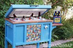 Ausgefallene Getränke-Station/ DIY Cooler Stand: would be cool at an Outdoor Wedding! Wood Cooler, Diy Cooler, Pallet Cooler, Homemade Cooler, Coolest Cooler, Furniture Plans, Diy Furniture, Arte Pallet, Diy Pallet