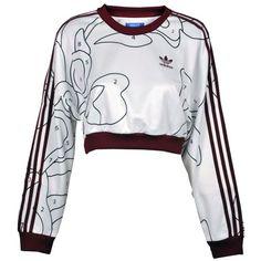 Adidas Rita Ora Sweatshirt ($34) ❤ liked on Polyvore featuring tops, hoodies, sweatshirts, sweaters, jumpers, white top, adidas, cut-out crop tops, long sleeve sweatshirt and adidas top