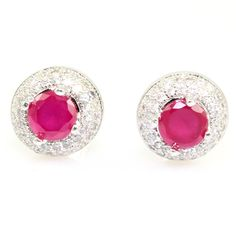 RUBY LOOK & CZ WHITE GOLD PLATED SUPERSHINE FASHION EARRING JEWELRY 10401RUS