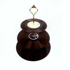 1 Tiered Vintage Record Cake Stand Retro Wedding Party Table Display Cupcakes