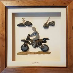 Do something different around motorcycle. Maybe black background with glow in dark painted rook for moon and headlight Pebble Stone, Pebble Art, Stone Art, Pebble Painting, Stone Painting, Stone Crafts, Rock Crafts, Arts And Crafts, Pebble Pictures