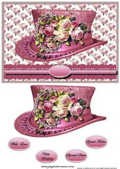 Vintage hat 3 on Craftsuprint designed by Marijke Kok - Beautiful vintage hat with pink vintage roses,very pretty - Now available for download!