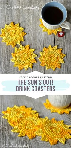 Sunny Coasters Free Crochet Patterns Let a bit of sunshine into your house with these delightful crochet coasters! The patterns we have found for you today are heart-warming like the Sun Crochet Kitchen, Crochet Home, Crochet Crafts, Crochet Doilies, Yarn Crafts, Free Crochet, Knit Crochet, Crochet Flowers, Crochet Coaster Pattern Free
