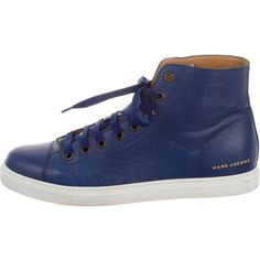 Pre-owned Marc Jacobs High-Top Leather Sneakers ($145) ❤ liked on Polyvore featuring men's fashion, men's shoes, men's sneakers, blue, mens leather shoes, mens leather high tops, mens hi top sneakers, mens sneakers and marc jacobs mens sneakers