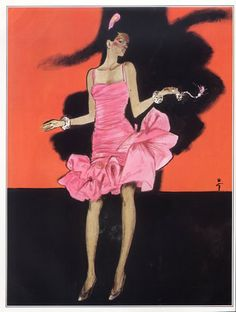 Yves Saint-Laurent (Couture) 1981 René Gruau, Evening Gown