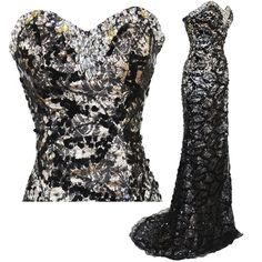 Tidetell.com Women's Strapless Beaded Black Lace Prom Formal Dress sexy prom dress long prom dress