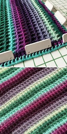Waffle stitch is amazing and I recommend it to all crochet lovers! Dark tones create depth to the design, especially if you pair them with lighter hues in a wavy pattern. Below you can see an example of this trick – crocheter behind timeonstation went for dark violets and deep greens, but interwoven by rows of light blue and green. #freecrochetpattern #crochetpattern #wafflestitch #wafflestitchblanket