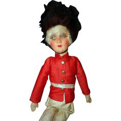 Toy Soldier Bed boudoir doll This is a 19 inch doll made in Germany 1920's with a pressed cardboard head with all the original clothing and cloth