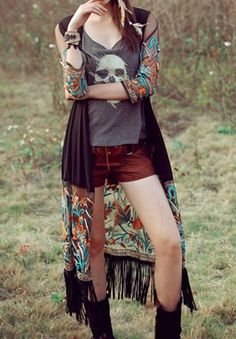 Ethnic Collarless Floral Print Long Sleeve Blouse For Women