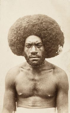 Kai Colo Fijian Warrior Rockin his really the Black Man is African? How did the Black man know To wear the Afro in the as a sign of a warrior.