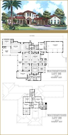 Brierhill Homes Waterstone - Heated Sq Ft: 5437 / Total Sq Ft: House Plans Mansion, Sims House Plans, House Layout Plans, Dream House Plans, House Layouts, House Floor Plans, Minecraft Houses Blueprints, House Blueprints, Sims 4 House Design