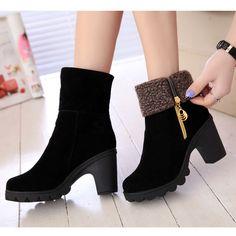 Nouveau mode femmes bottes d'hiver automne / hiver en daim à talons hauts hiver chaud chaussures femme Botas Femininas(China (Mainland))