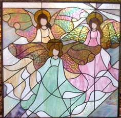 Stained Glass Panel ~ Three Angels ~