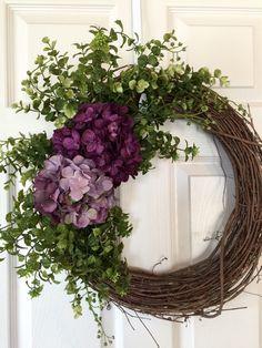 HYDRANGEA WREATH,Burlap Wreath, Spring Wreath,Summer Wreath,Grapevine Wreath, Purple Wreath,Front Door Wreath,Boxwood Wreath,Wedding Wreath by Toleshack on Etsy https://www.etsy.com/listing/274069108/hydrangea-wreathburlap-wreath-spring