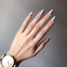 Coffin - Ballerina Style Nails ideas to inspire Fancy Nails, Cute Nails, Pretty Nails, Minimalist Nails, Hair And Nails, My Nails, Space Nails, Silver Nails, Nail Swag