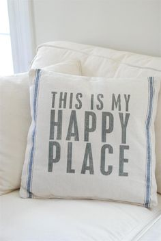 Grain Sack Pillow with Blue Stripes and Happy Place