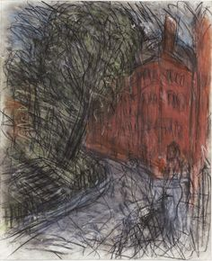 Leon Kossoff, Arnold Circus, (charcoal and pastel on paper) Leon Kossoff, Cool Drawings, Pencil Drawings, Artist Sketchbook, Urban Sketchers, Naive Art, Abstract Images, Urban Landscape, Art Sketches
